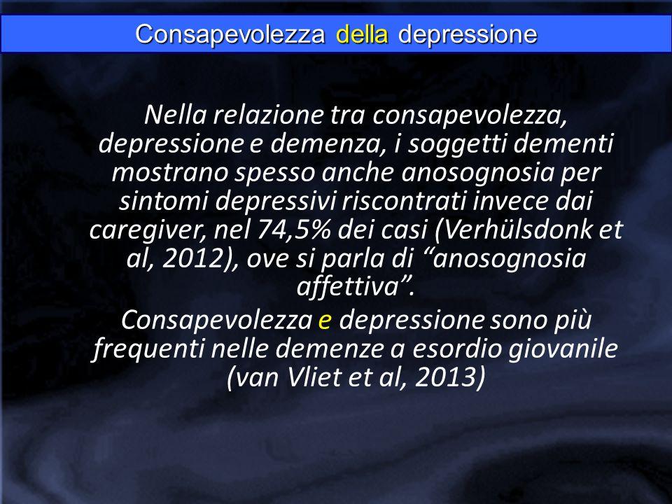 Nella relazione tra consapevolezza, depressione e demenza, i soggetti dementi mostrano spesso anche anosognosia per sintomi depressivi riscontrati invece dai caregiver, nel 74,5% dei casi (Verhülsdonk et al, 2012), ove si parla di anosognosia affettiva .