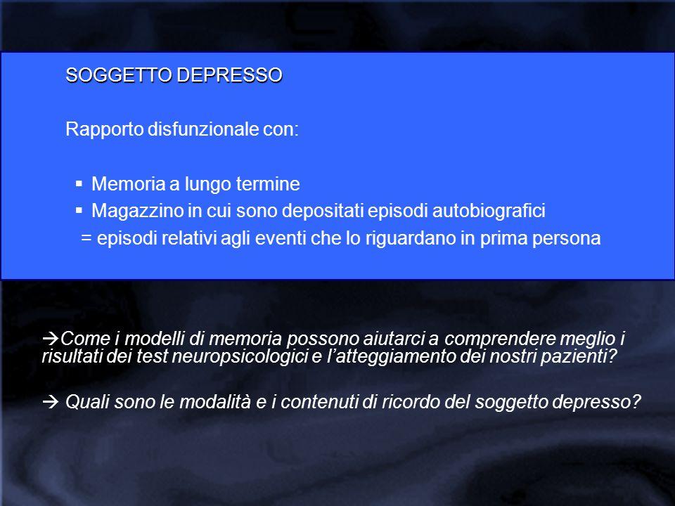 SOGGETTO DEPRESSO Rapporto disfunzionale con:  Memoria a lungo termine  Magazzino in cui sono depositati episodi autobiografici = episodi relativi a