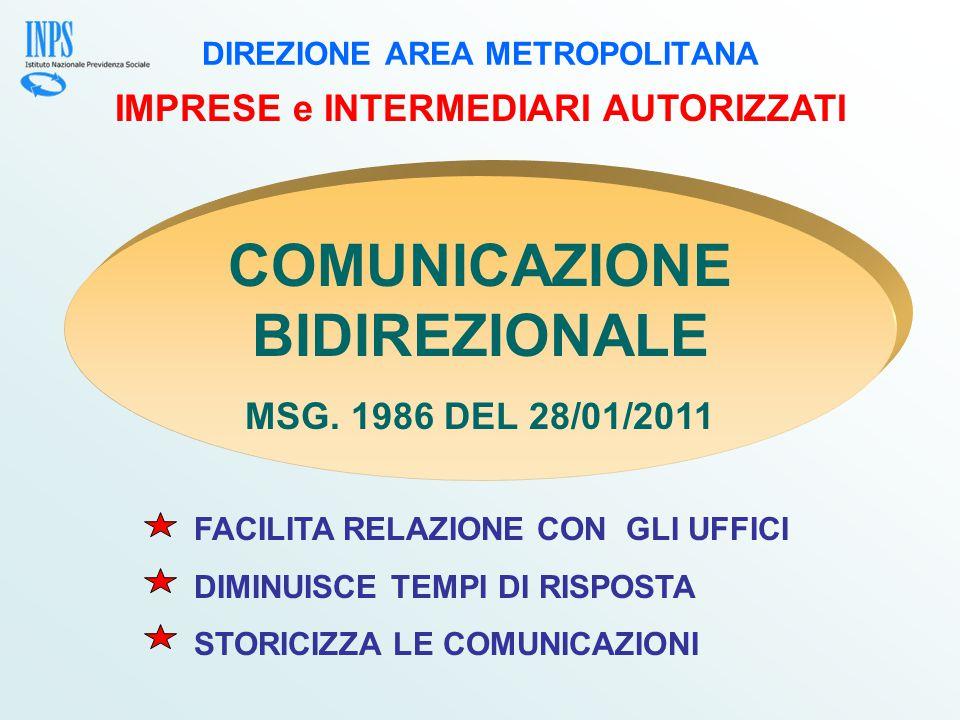 DIREZIONE AREA METROPOLITANA IMPRESE e INTERMEDIARI AUTORIZZATI COMUNICAZIONE BIDIREZIONALE MSG.