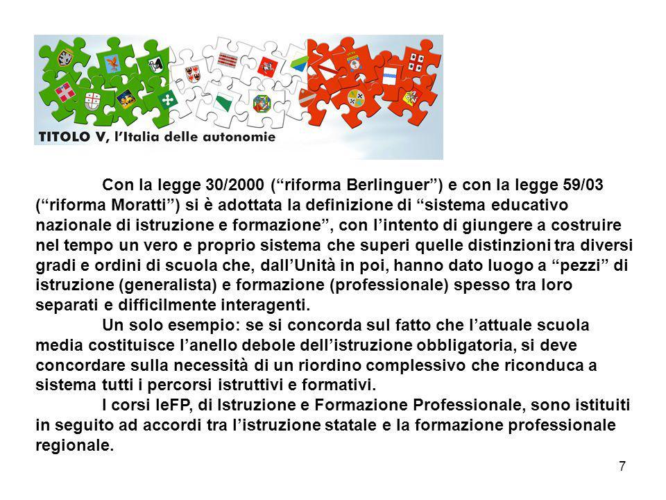 """7 Con la legge 30/2000 (""""riforma Berlinguer"""") e con la legge 59/03 (""""riforma Moratti"""") si è adottata la definizione di """"sistema educativo nazionale di"""