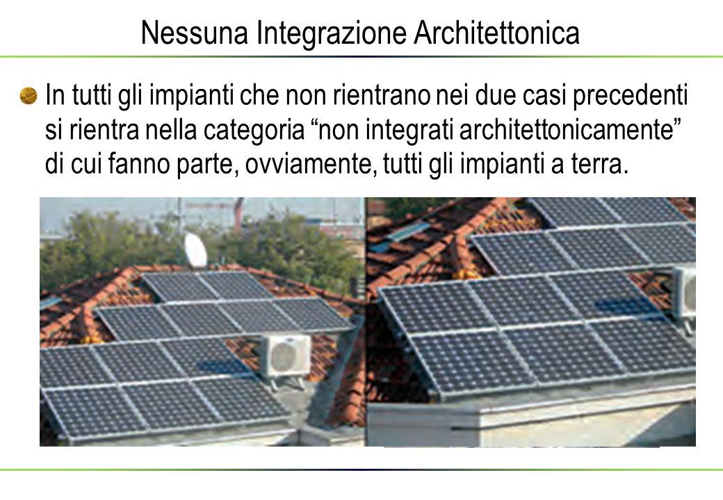 Nessuna Integrazione Architettonica In tutti gli impianti che non rientrano nei due casi precedenti si rientra nella categoria non integrati architettonicamente di cui fanno parte, ovviamente, tutti gli impianti a terra.