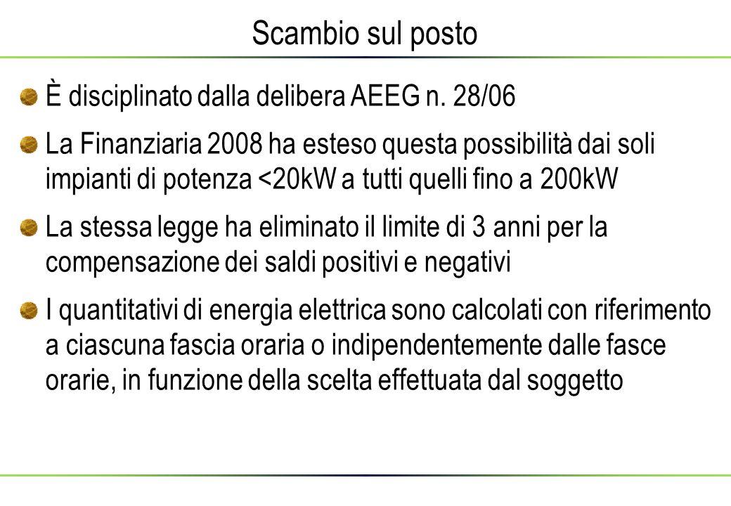 Scambio sul posto È disciplinato dalla delibera AEEG n. 28/06 La Finanziaria 2008 ha esteso questa possibilità dai soli impianti di potenza <20kW a tu