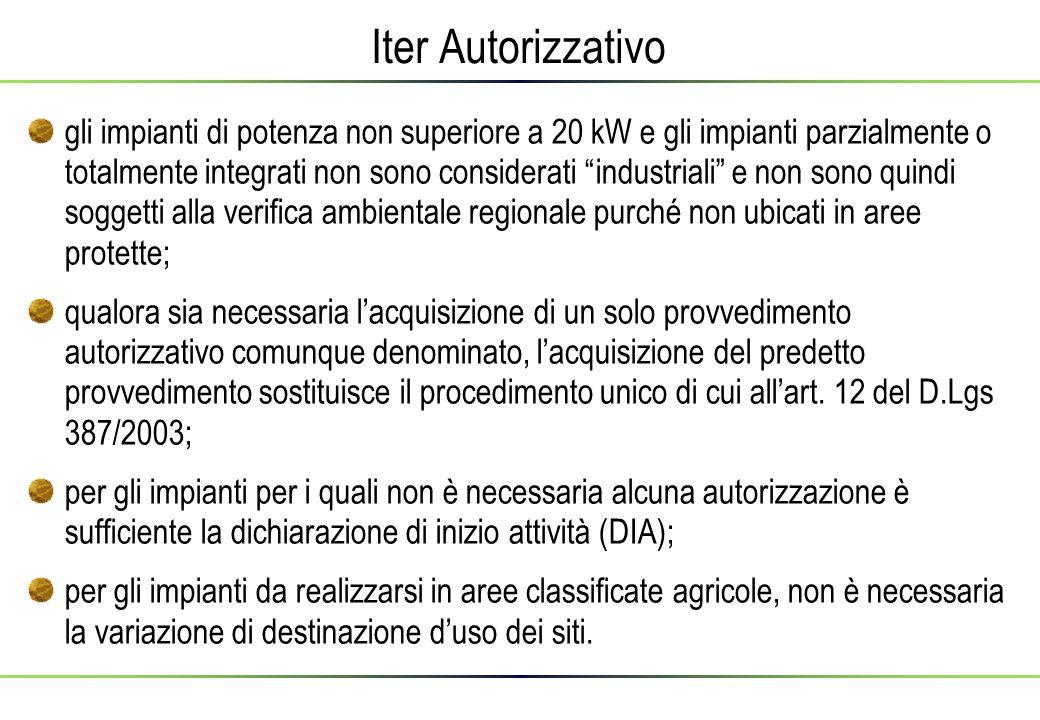Iter Autorizzativo gli impianti di potenza non superiore a 20 kW e gli impianti parzialmente o totalmente integrati non sono considerati industriali e non sono quindi soggetti alla verifica ambientale regionale purché non ubicati in aree protette; qualora sia necessaria l'acquisizione di un solo provvedimento autorizzativo comunque denominato, l'acquisizione del predetto provvedimento sostituisce il procedimento unico di cui all'art.