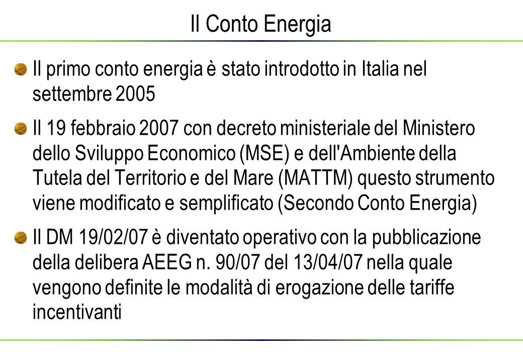 Il Conto Energia Il primo conto energia è stato introdotto in Italia nel settembre 2005 Il 19 febbraio 2007 con decreto ministeriale del Ministero dello Sviluppo Economico (MSE) e dell Ambiente della Tutela del Territorio e del Mare (MATTM) questo strumento viene modificato e semplificato (Secondo Conto Energia)  Il DM 19/02/07 è diventato operativo con la pubblicazione della delibera AEEG n.