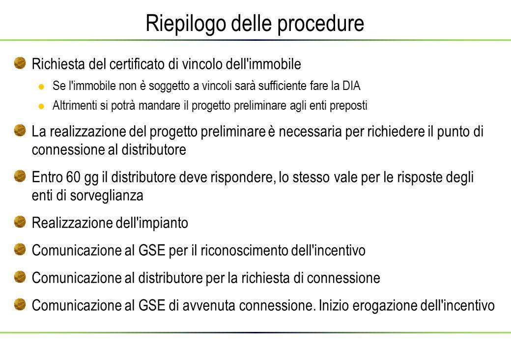 Riepilogo delle procedure Richiesta del certificato di vincolo dell'immobile Se l'immobile non è soggetto a vincoli sarà sufficiente fare la DIA Altri