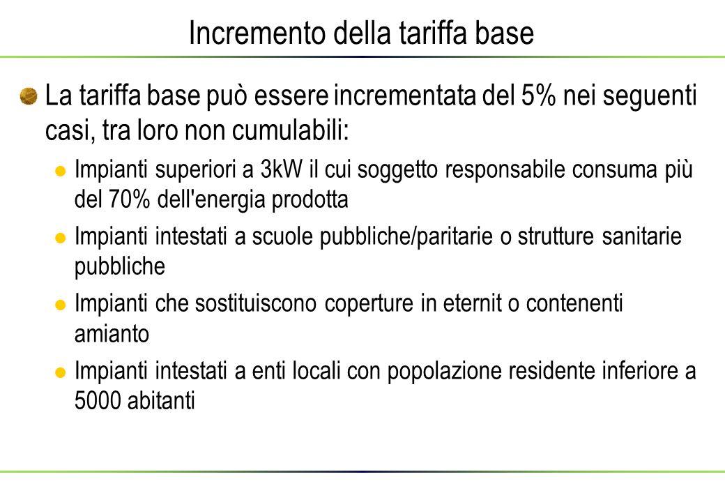 Incremento della tariffa base La tariffa base può essere incrementata del 5% nei seguenti casi, tra loro non cumulabili: Impianti superiori a 3kW il c