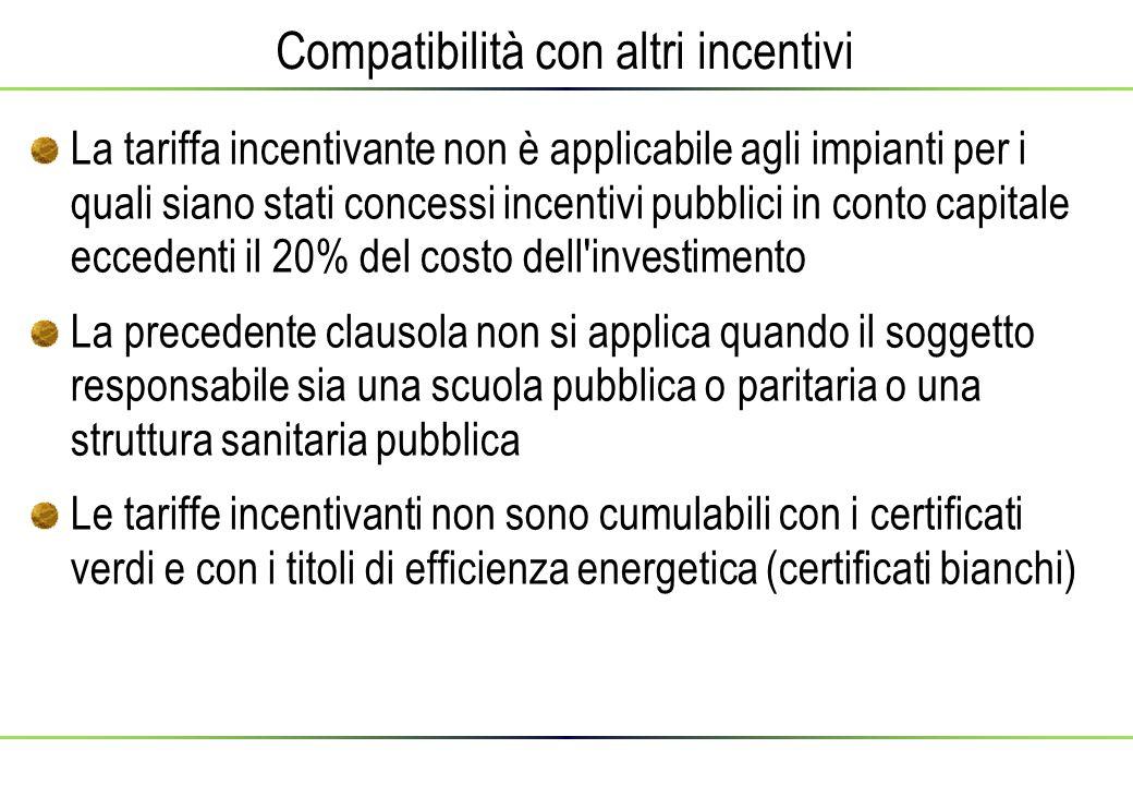 Compatibilità con altri incentivi La tariffa incentivante non è applicabile agli impianti per i quali siano stati concessi incentivi pubblici in conto