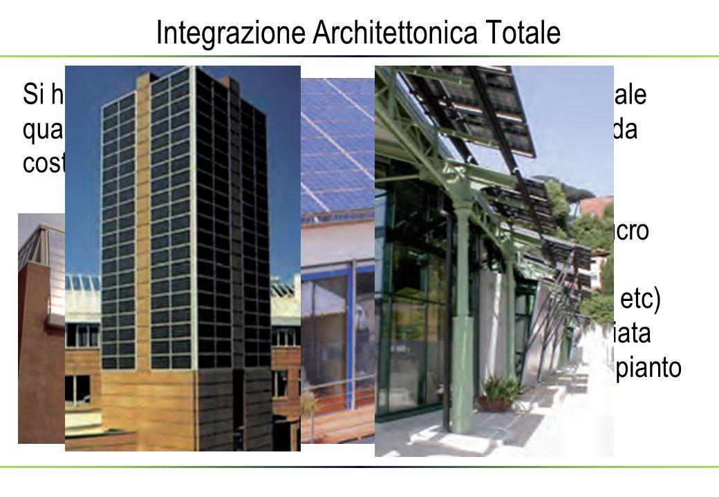 Integrazione Architettonica Totale Si ha il riconoscimento di integrazione architettonica totale quando il generatore fotovoltaico sostituisce i materiali da costruzione delle coperture o dei rivestimenti dell opera L efficienza dell involucro (isolamento termico, impermiabilizzazione, etc) non deve essere inficiata dalla presenza dell impianto fotovoltaico