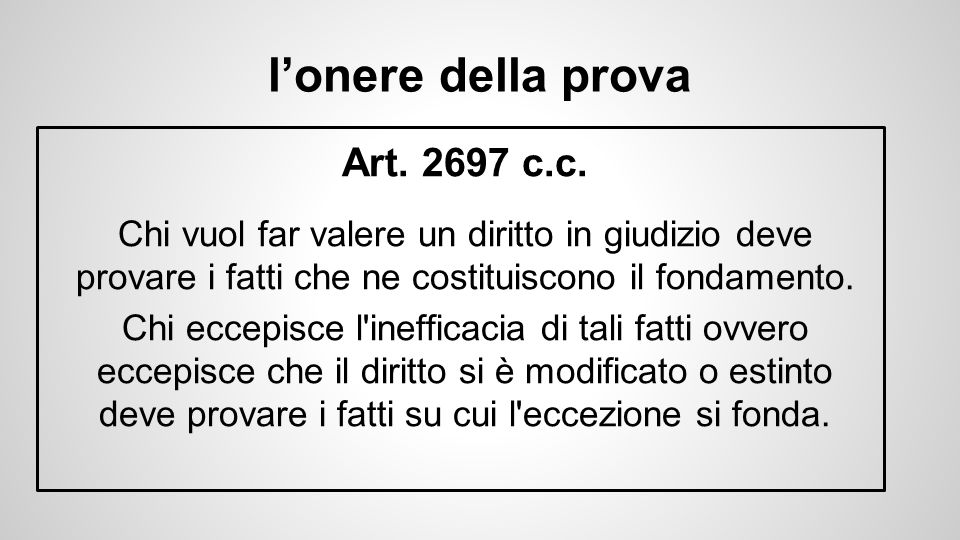 l'onere della prova Art.2697 c.c.