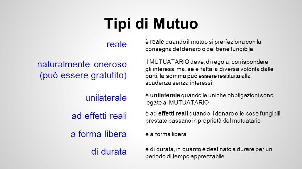 Perfezionamento del contratto di mutuo Il mutuo, in quanto contratto reale, si perfeziona con la messa a disposizione del bene fungibile da parte del mutuante al mutuatario.