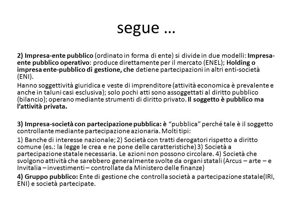 segue … 2) Impresa-ente pubblico (ordinato in forma di ente) si divide in due modelli: Impresa- ente pubblico operativo: produce direttamente per il m