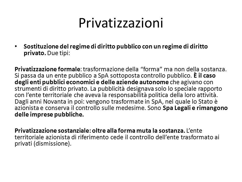 Privatizzazioni Sostituzione del regime di diritto pubblico con un regime di diritto privato. Due tipi: Privatizzazione formale: trasformazione della