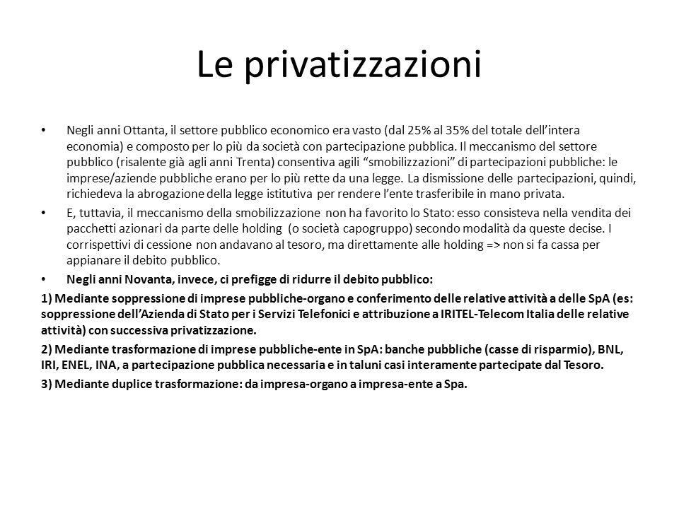 Le privatizzazioni Negli anni Ottanta, il settore pubblico economico era vasto (dal 25% al 35% del totale dell'intera economia) e composto per lo più