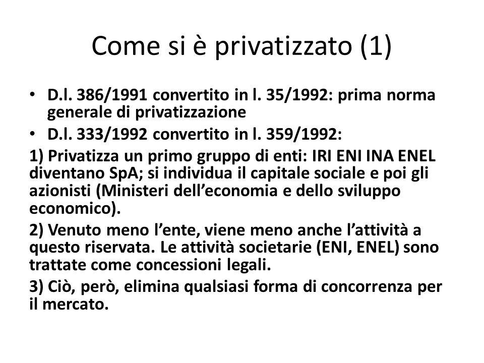 Come si è privatizzato (1) D.l. 386/1991 convertito in l. 35/1992: prima norma generale di privatizzazione D.l. 333/1992 convertito in l. 359/1992: 1)