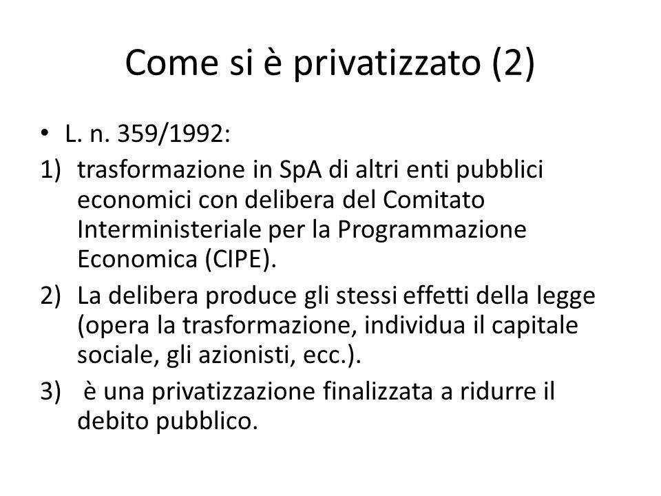 Come si è privatizzato (2) L. n. 359/1992: 1)trasformazione in SpA di altri enti pubblici economici con delibera del Comitato Interministeriale per la