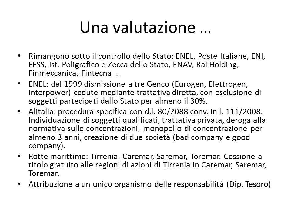 Una valutazione … Rimangono sotto il controllo dello Stato: ENEL, Poste Italiane, ENI, FFSS, Ist. Poligrafico e Zecca dello Stato, ENAV, Rai Holding,