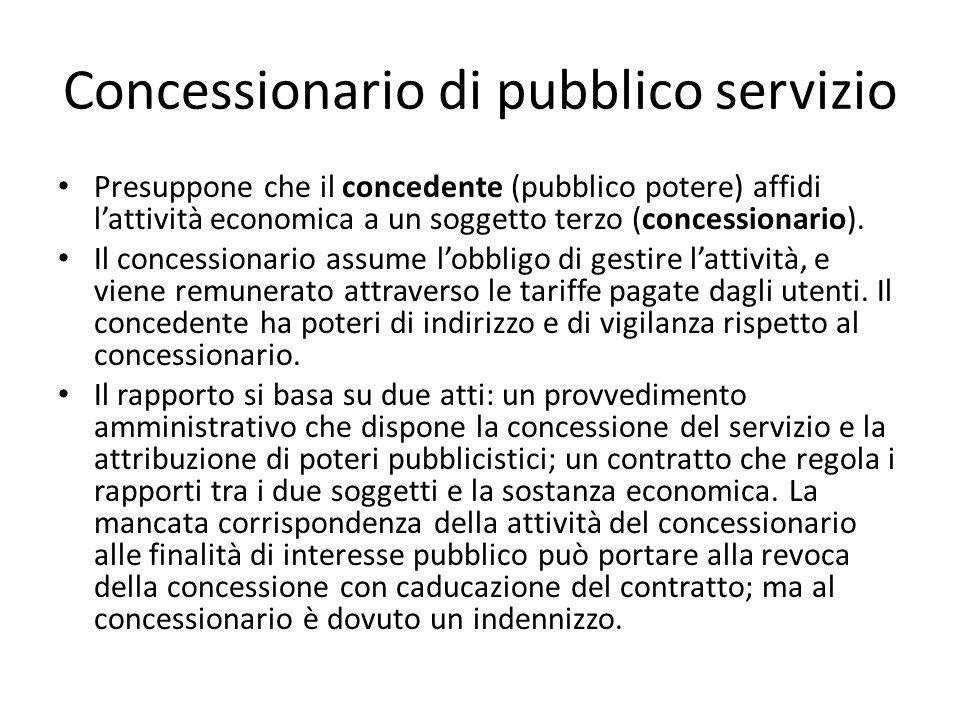 Concessionario di pubblico servizio Presuppone che il concedente (pubblico potere) affidi l'attività economica a un soggetto terzo (concessionario). I