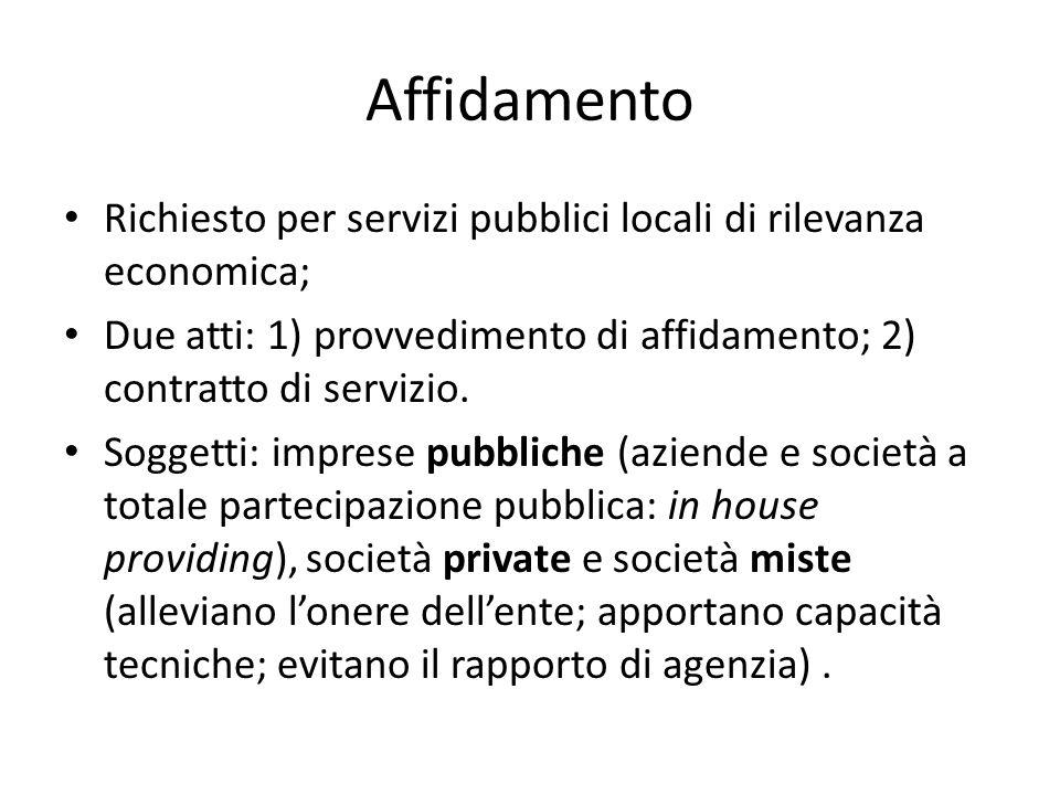 Affidamento Richiesto per servizi pubblici locali di rilevanza economica; Due atti: 1) provvedimento di affidamento; 2) contratto di servizio. Soggett