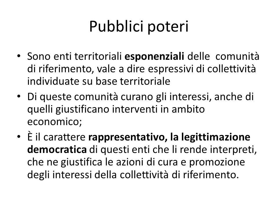 Pubblici poteri Sono enti territoriali esponenziali delle comunità di riferimento, vale a dire espressivi di collettività individuate su base territor
