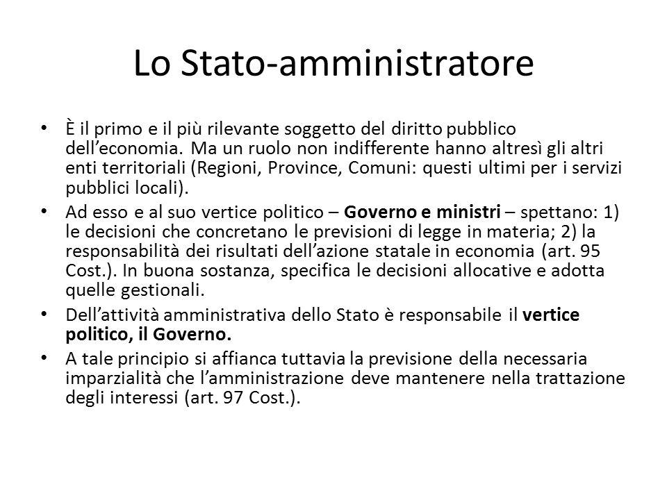 Lo Stato-amministratore È il primo e il più rilevante soggetto del diritto pubblico dell'economia. Ma un ruolo non indifferente hanno altresì gli altr