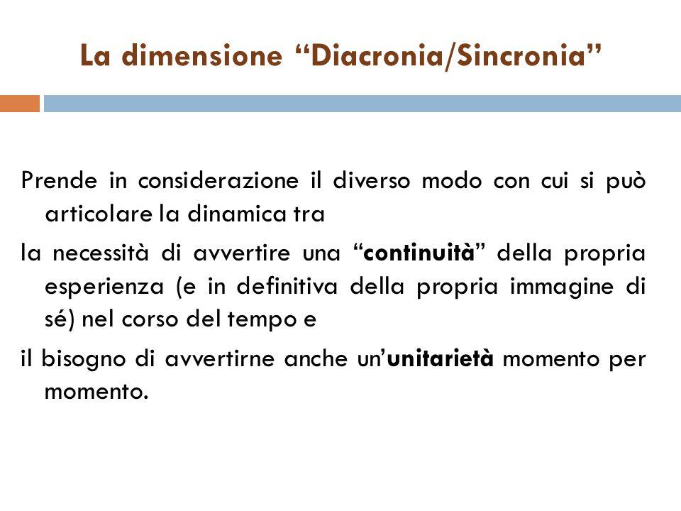 """La dimensione """"Diacronia/Sincronia"""" Prende in considerazione il diverso modo con cui si può articolare la dinamica tra la necessità di avvertire una """""""
