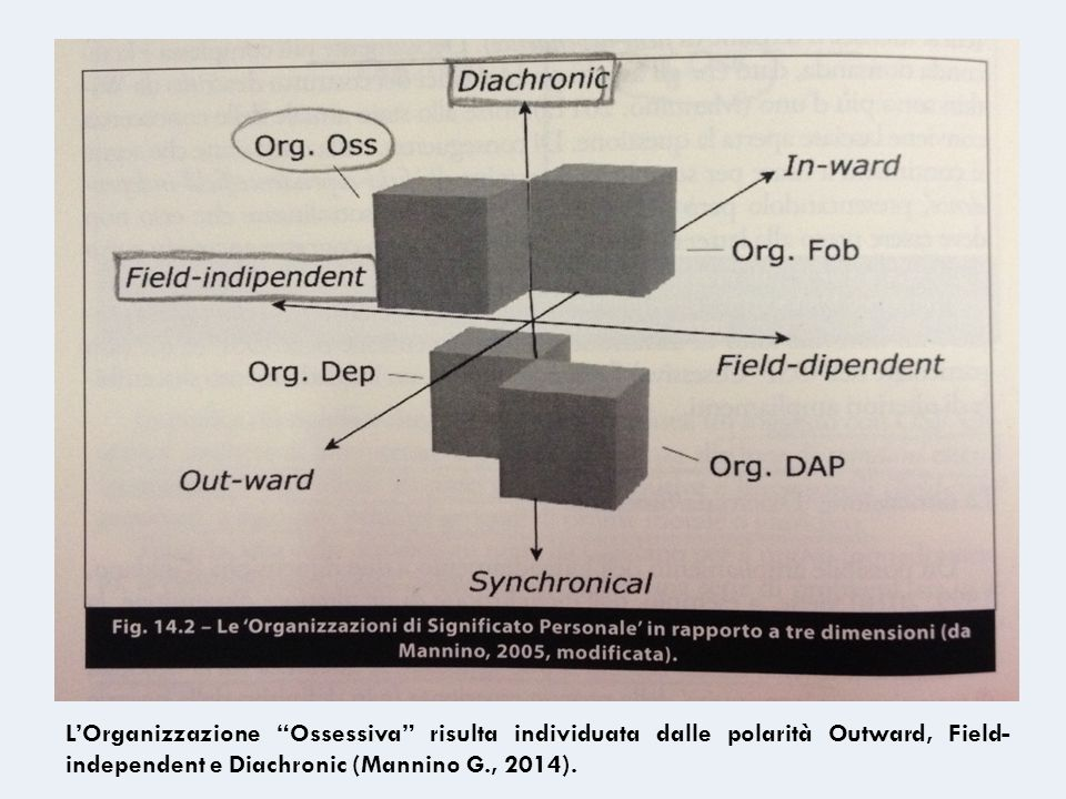 """L'Organizzazione """"Ossessiva"""" risulta individuata dalle polarità Outward, Field- independent e Diachronic (Mannino G., 2014)."""