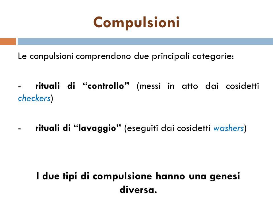 """Le conpulsioni comprendono due principali categorie: -rituali di """"controllo"""" (messi in atto dai cosidetti checkers) -rituali di """"lavaggio"""" (eseguiti d"""