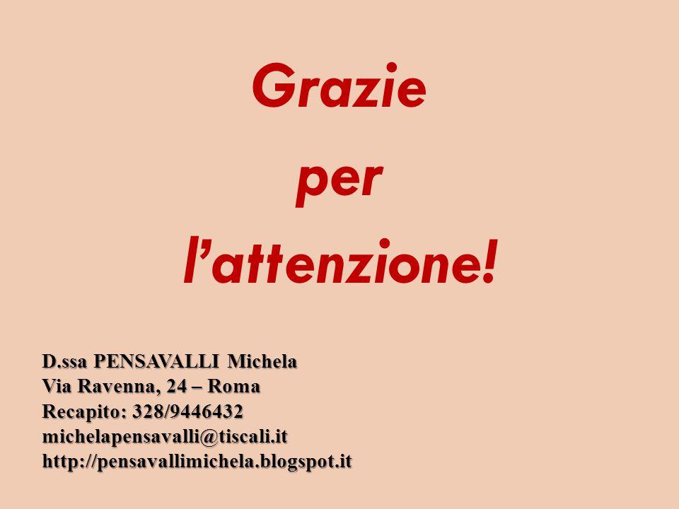 Grazie per l'attenzione! D.ssa PENSAVALLI Michela Via Ravenna, 24 – Roma Recapito: 328/9446432 michelapensavalli@tiscali.it http://pensavallimichela.b