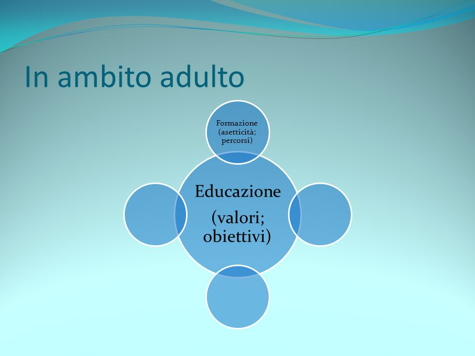 In ambito adulto Educazione (valori; obiettivi) Formazione (asetticità; percorsi)