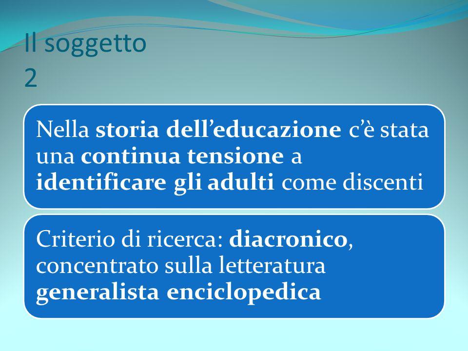 Il soggetto 2 Nella storia dell'educazione c'è stata una continua tensione a identificare gli adulti come discenti Criterio di ricerca: diacronico, co