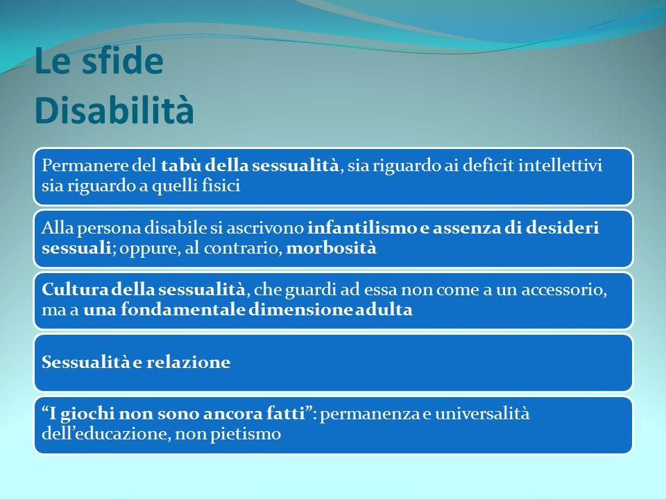 Le sfide Disabilità Permanere del tabù della sessualità, sia riguardo ai deficit intellettivi sia riguardo a quelli fisici Alla persona disabile si as