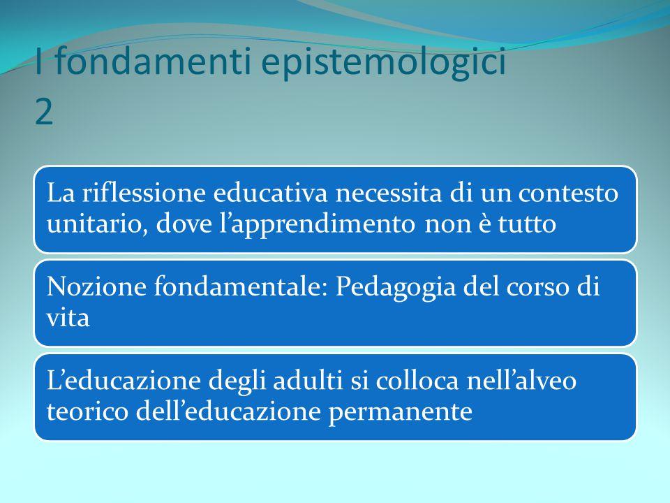 I fondamenti epistemologici 3 Tre prospettive dell'educazione permanente:- Mario Mencarelli, cattolico- Anna Lorenzetto, laica- Filippo De Sanctis, marxista Per i tre pedagogisti l'ideologia ha una funzione importante ma non sufficiente