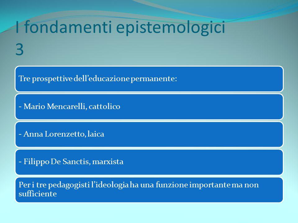 I fondamenti epistemologici 3 Tre prospettive dell'educazione permanente:- Mario Mencarelli, cattolico- Anna Lorenzetto, laica- Filippo De Sanctis, ma