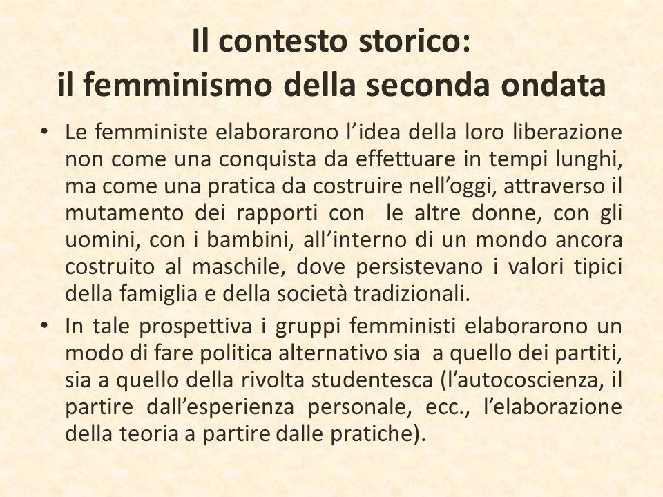 Il contesto storico: il femminismo della seconda ondata Le femministe elaborarono l'idea della loro liberazione non come una conquista da effettuare i