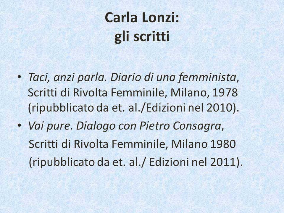 Carla Lonzi: gli scritti Taci, anzi parla. Diario di una femminista, Scritti di Rivolta Femminile, Milano, 1978 (ripubblicato da et. al./Edizioni nel