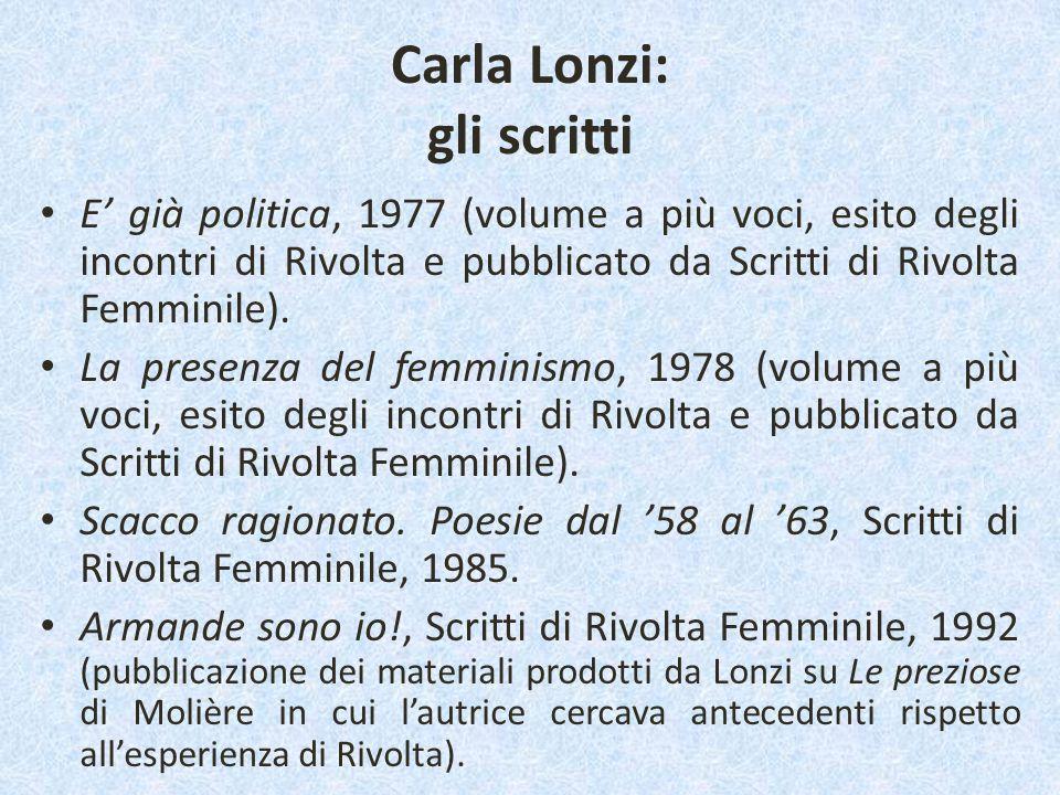 Carla Lonzi: gli scritti E' già politica, 1977 (volume a più voci, esito degli incontri di Rivolta e pubblicato da Scritti di Rivolta Femminile). La p