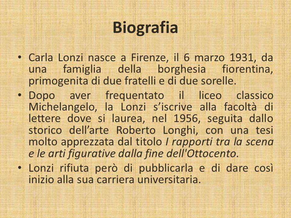 Carla Lonzi nasce a Firenze, il 6 marzo 1931, da una famiglia della borghesia fiorentina, primogenita di due fratelli e di due sorelle. Dopo aver freq