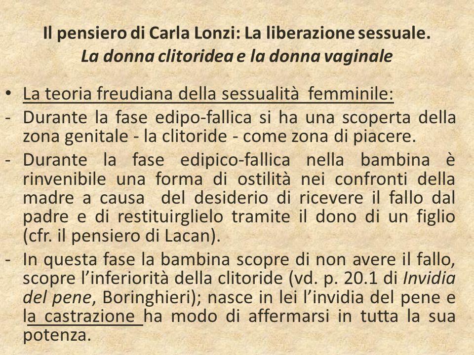 Il pensiero di Carla Lonzi: La liberazione sessuale. La donna clitoridea e la donna vaginale La teoria freudiana della sessualità femminile: -Durante