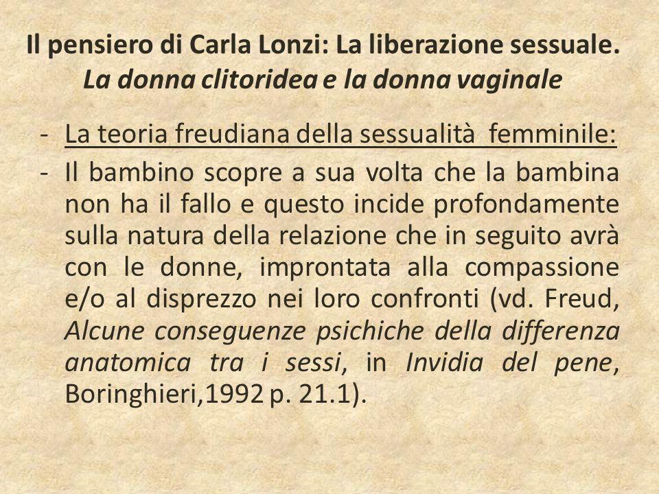 Il pensiero di Carla Lonzi: La liberazione sessuale. La donna clitoridea e la donna vaginale -La teoria freudiana della sessualità femminile: -Il bamb