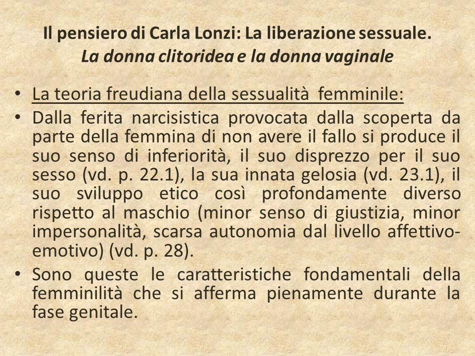 Il pensiero di Carla Lonzi: La liberazione sessuale. La donna clitoridea e la donna vaginale La teoria freudiana della sessualità femminile: Dalla fer