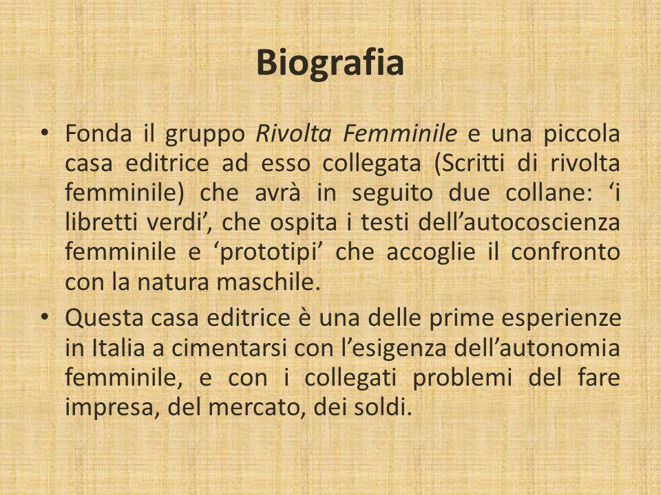 Biografia Il decennio degli anni Settanta vede anche l'affermazione della relazione con lo scultore Pietro Consagra, precedentemente conosciuto da Lonzi.