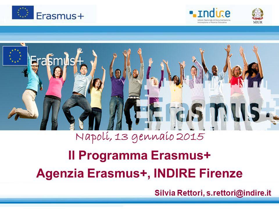 Napoli, 13 gennaio 2015 Il Programma Erasmus+ Agenzia Erasmus+, INDIRE Firenze Silvia Rettori, s.rettori@indire.it