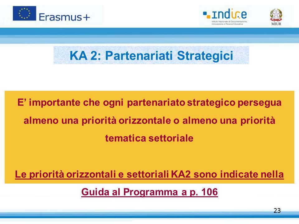 23 E' importante che ogni partenariato strategico persegua almeno una priorità orizzontale o almeno una priorità tematica settoriale Le priorità orizzontali e settoriali KA2 sono indicate nella Guida al Programma a p.