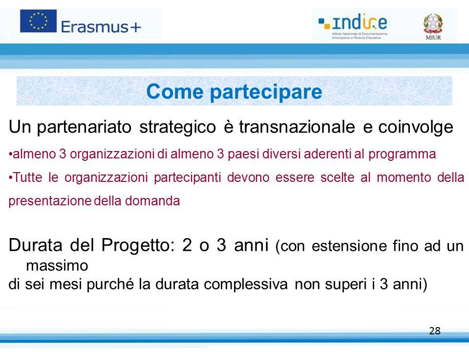 28 Come partecipare Un partenariato strategico è transnazionale e coinvolge almeno 3 organizzazioni di almeno 3 paesi diversi aderenti al programma Tu