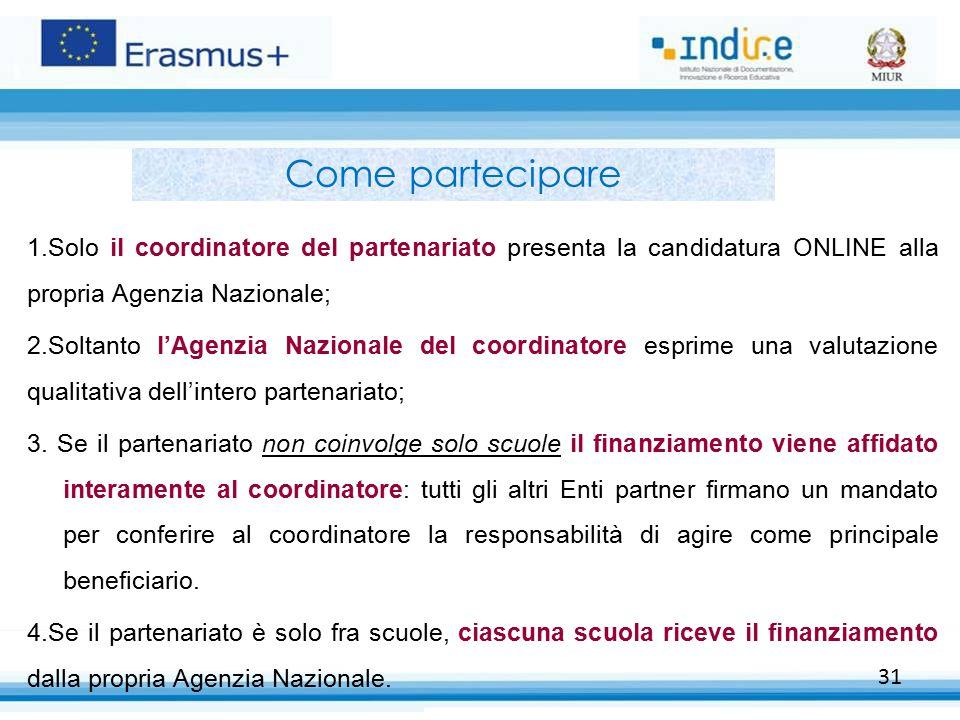 31 Come partecipare 1.Solo il coordinatore del partenariato presenta la candidatura ONLINE alla propria Agenzia Nazionale; 2.Soltanto l'Agenzia Nazion
