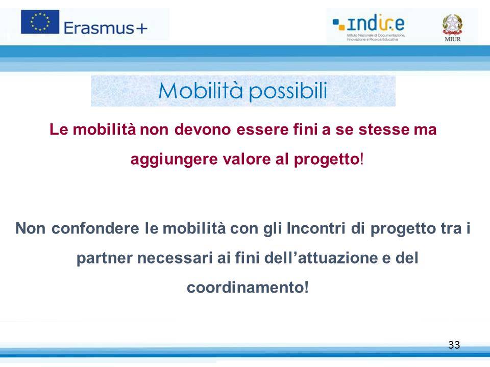 33 Mobilità possibili Le mobilità non devono essere fini a se stesse ma aggiungere valore al progetto! Non confondere le mobilità con gli Incontri di