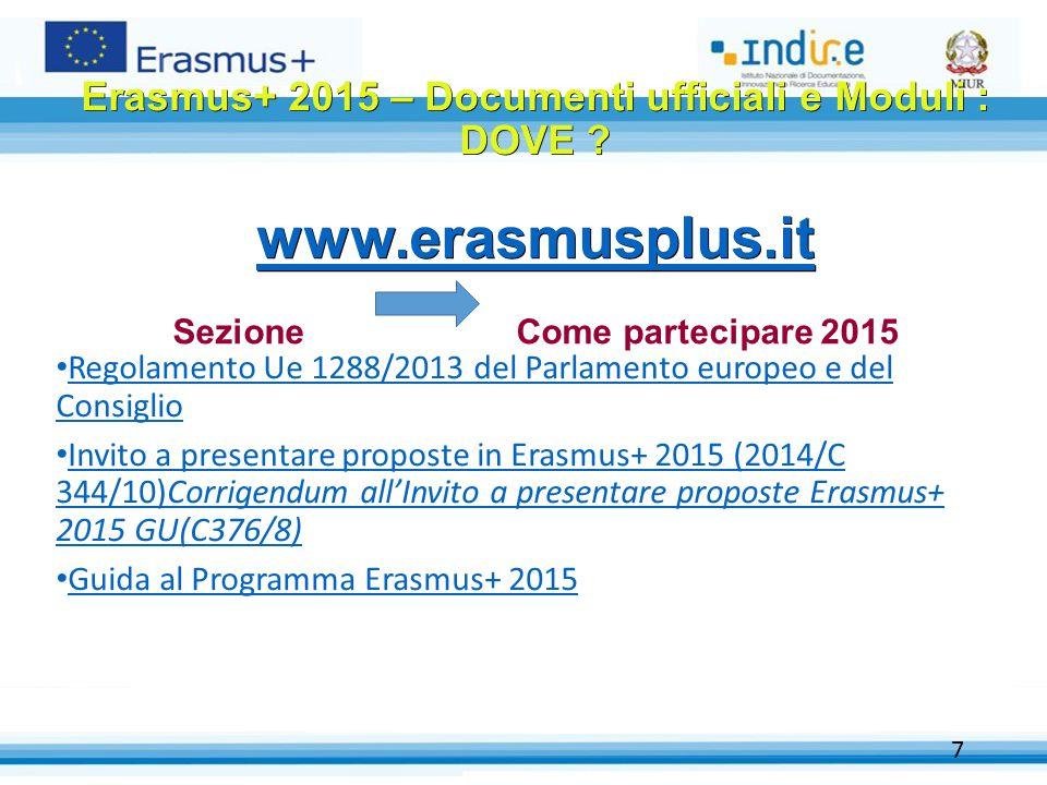 Regolamento Ue 1288/2013 del Parlamento europeo e del Consiglio Regolamento Ue 1288/2013 del Parlamento europeo e del Consiglio Invito a presentare proposte in Erasmus+ 2015 (2014/C 344/10)Corrigendum all'Invito a presentare proposte Erasmus+ 2015 GU(C376/8) Invito a presentare proposte in Erasmus+ 2015 (2014/C 344/10)Corrigendum all'Invito a presentare proposte Erasmus+ 2015 GU(C376/8) Guida al Programma Erasmus+ 2015 7 Erasmus+ 2015 – Documenti ufficiali e Moduli : DOVE .