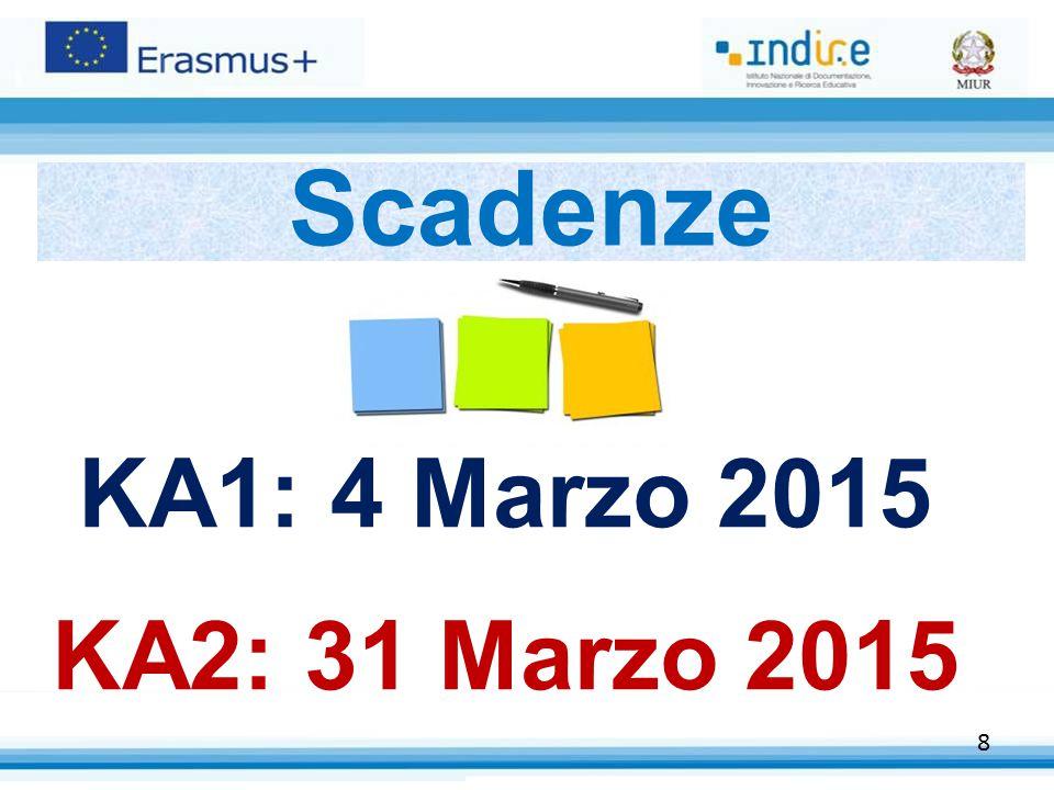 8 Scadenze KA1: 4 Marzo 2015 KA2: 31 Marzo 2015