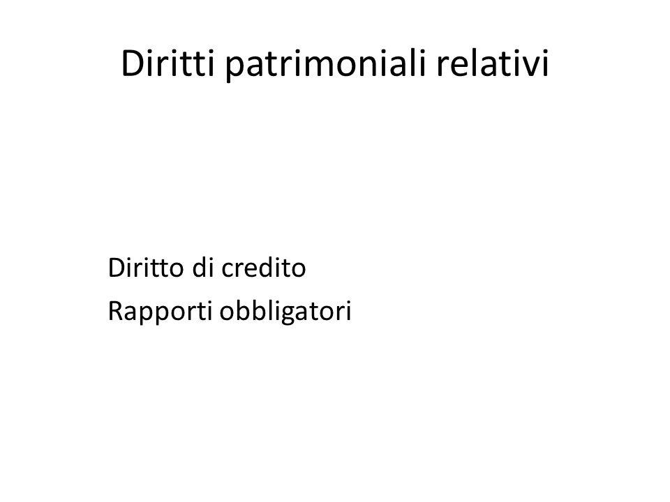 Diritti patrimoniali relativi Diritto di credito Rapporti obbligatori