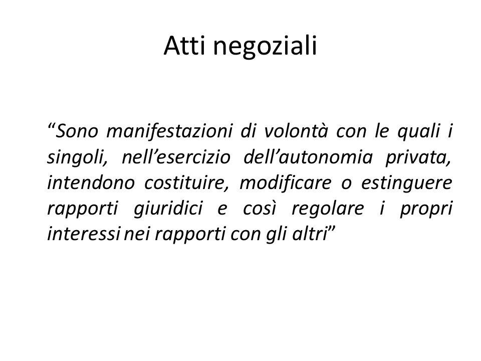 """Atti negoziali """"Sono manifestazioni di volontà con le quali i singoli, nell'esercizio dell'autonomia privata, intendono costituire, modificare o estin"""